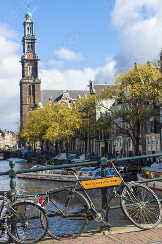 Amsterdam, Holland. Bridge over a canal in the city center Canvas Print