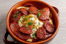 Spanish Tapas With Potatoes, Iberian Ham, Chorizo Sausage