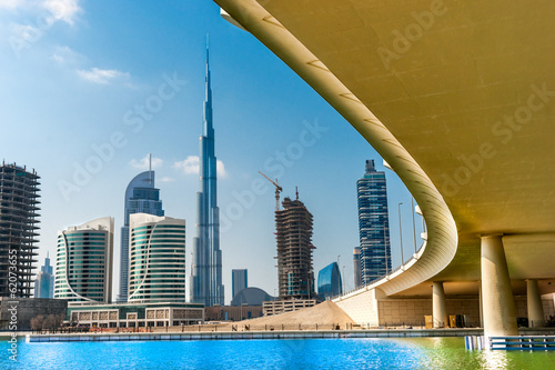 Canvas Dubai skyline with Burj Khalifa. UAE.