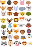 Fototapeta Fototapety na ścianę do pokoju dziecięcego - Cartoon animal head collection set