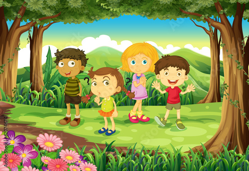 Canvas Prints Kids A forest with four kids