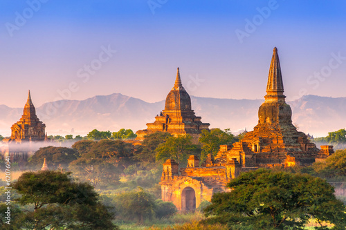 Bagan at Sunset, Myanmar. Canvas Print