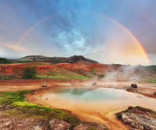 Geothermal Hot Water At The Geysir District In Iceland
