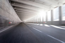 Empty Tunnel Road With Motion Blur