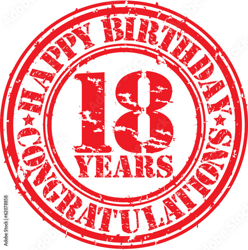 Happy birthday 18 years grunge rubber stamp, vector illustration Poster