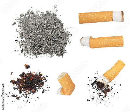 Fényképezés  Set Cigarette butts and ashes from tobacco isolated on white