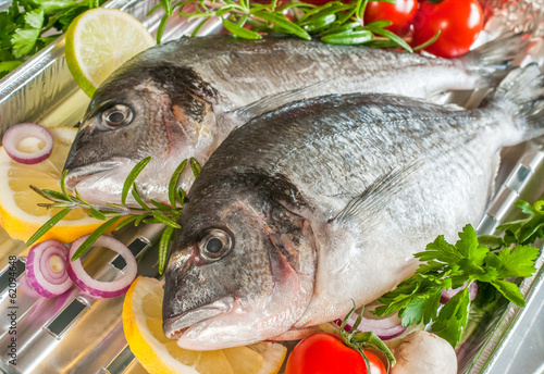 sea bream fish  on a grill