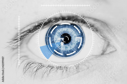Foto auf AluDibond Iris Security Iris Scanner on Blue Human Eye