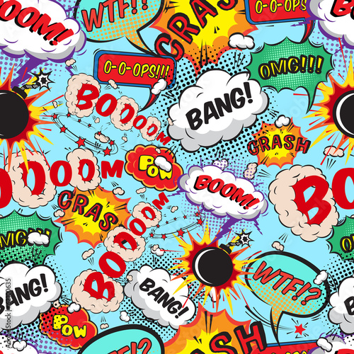 Canvastavla  Seamless pattern comic speech bubbles