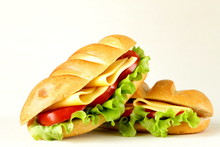 Fresh Sandwich With Vegetables, Green Salad And Cheese