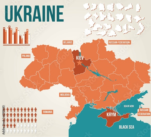Photo Ukraine political map - vector map