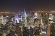Panoramic view of Manhattan New York looking north from midtown