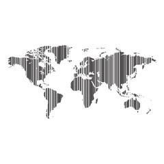 world map as bar-code