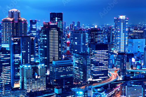 Canvas Prints Japan Osaka skyline at night