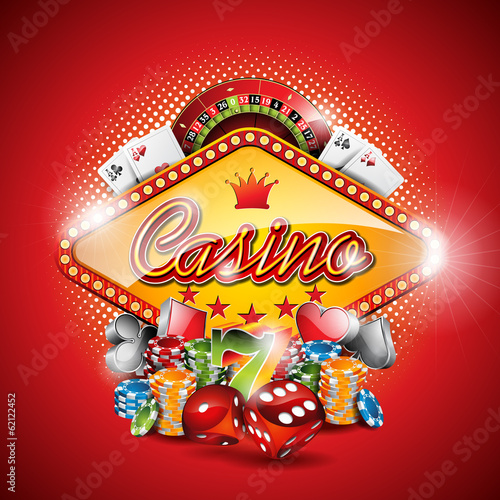 Vector illustration on a casino theme with gambling elements плакат