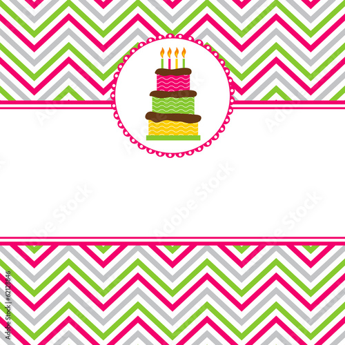 Vászonkép Happy Birthday invitation card template