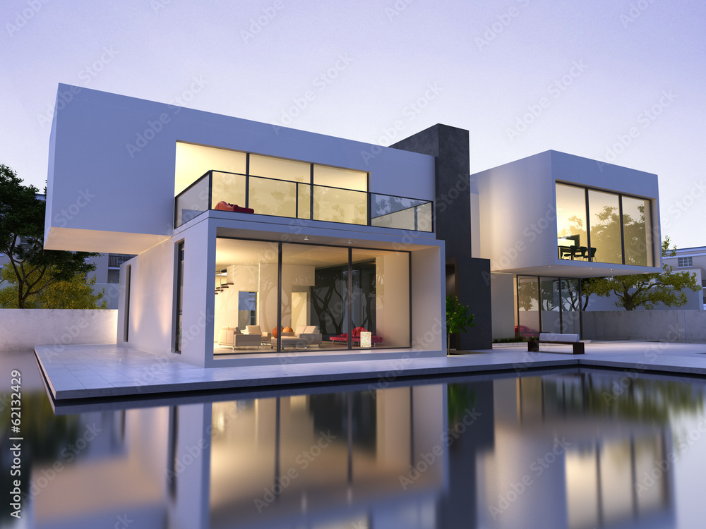 Fototapeta Modern house with pool