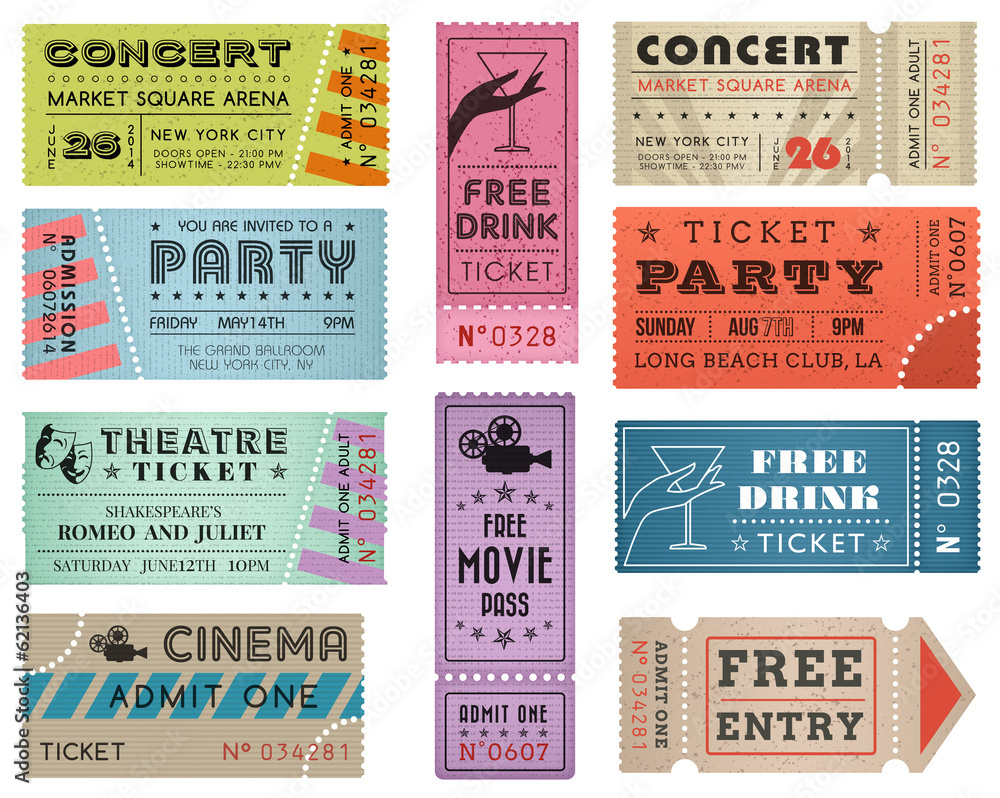 Fototapety, obrazy: Grunge Vector Tickets Collection 3