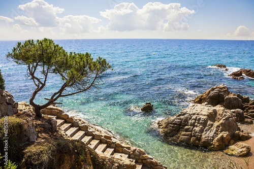 Photo  Platja d'Aro beach, Costa Brava, Catalonia, Spain.