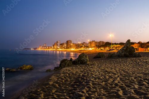 Platja d'Aro beach night photography, Catalonia, Spain.