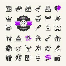 Web Icon Set Party, Birthday, Celebration