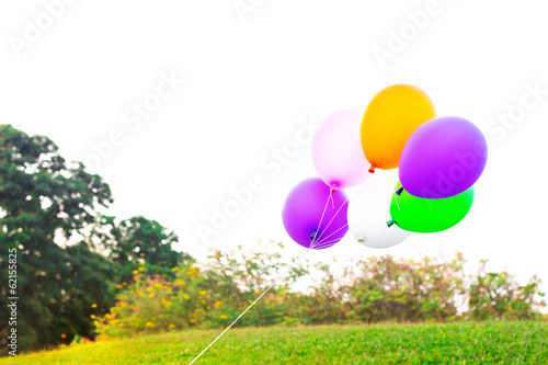 Foto op Plexiglas Groene colorful balloons with empty white space for texture on green g