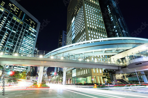 Foto op Canvas Tokyo Tokyo city with car light