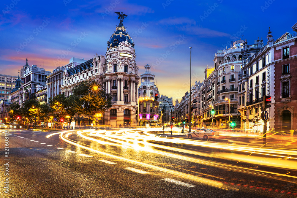 Fototapety, obrazy: Madrid city center, Gran Vis Spain