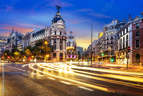 Madrid city center, Gran Vis Spain Canvas