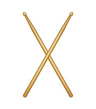 Crossed Pair Of Wooden Drumsti...
