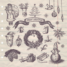 Hand Drawn Merry Christmas Set