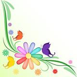 Sfondo margherita arcobaleno e farfalle
