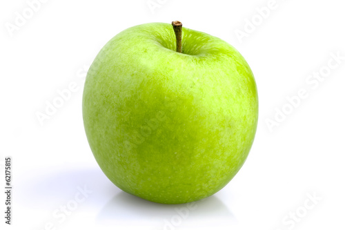 Fotografie, Obraz  One green apple on a white background