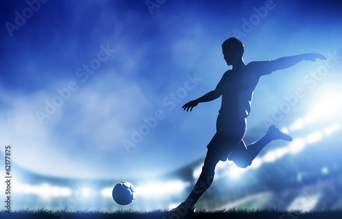 Juliste  Football, soccer match. A player shooting on goal