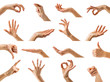 Collection of women hands showing different gestures