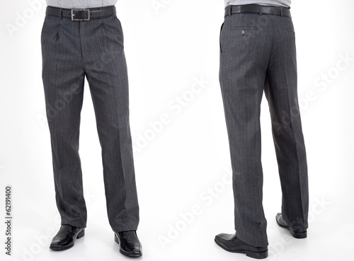 men in trousers on white background back and front views Canvas Print