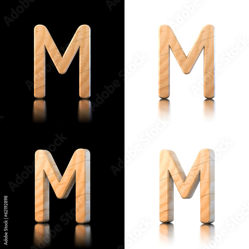 three dimensional wooden letter m isolated on white and black