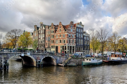 Photo  Amsterdam canal and bridge