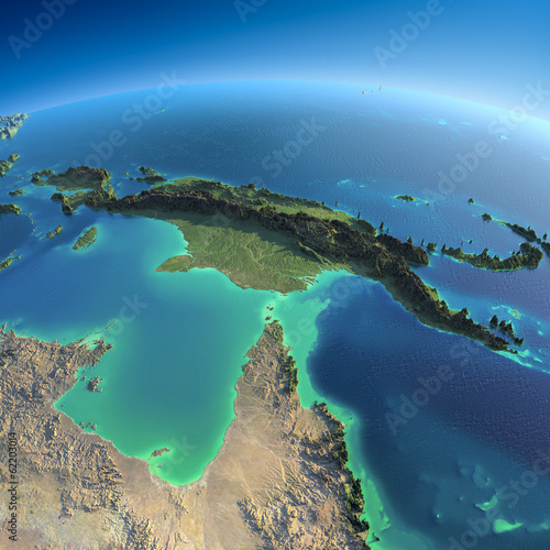 Fotografie, Obraz Detailed Earth. Australia and Papua New Guinea