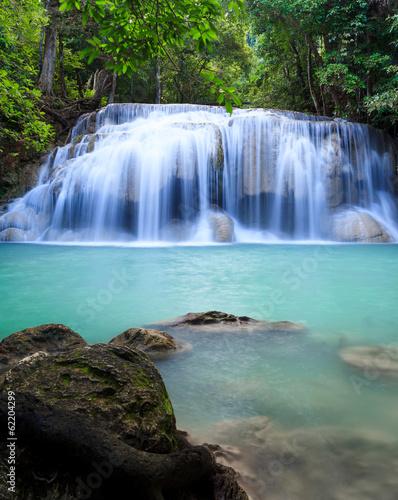Poster Bleu nuit Erawan waterfall National Park Kanjanaburi Thailand