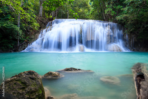 Poster Bleu nuit Deep forest waterfall at Erawan waterfall Kanjanaburi Thailand