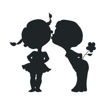 Silhouettes Of Kissing Boy And...