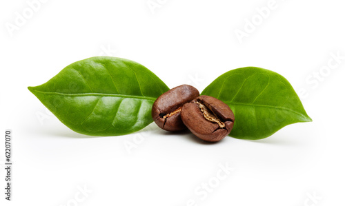 Black coffee beans, grain with leaf isolated on white