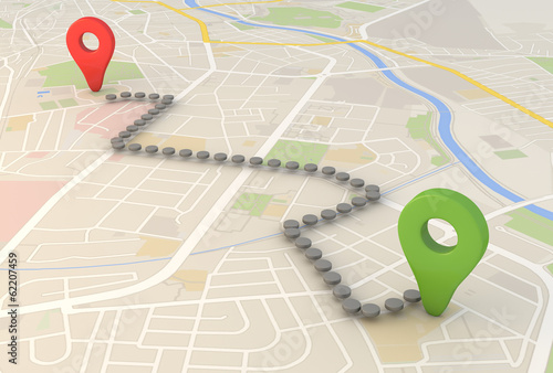 city map with Pin Pointers 3d rendering image Slika na platnu
