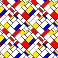 Fototapeta Colorful diagonal geometric mondrian style seamless pattern
