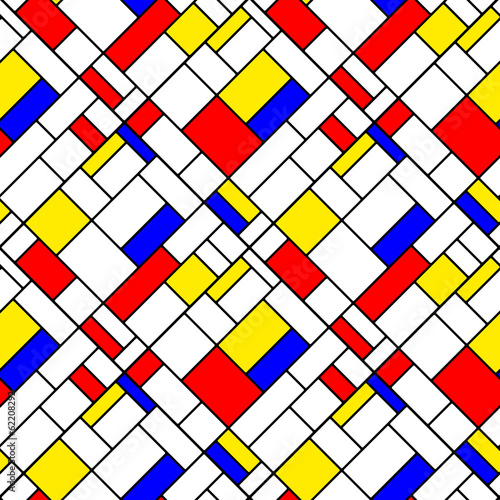Photo  Colorful diagonal geometric mondrian style seamless pattern