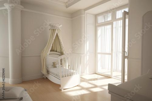 Kinderzimmer mit Wiege für Baby Wallpaper Mural