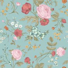 Panel Szklany Ogrody Seamless vector classic pattern with Victorian bouquet