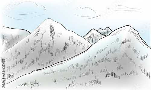 Fototapeta hill landscape sketch illustration obraz na płótnie
