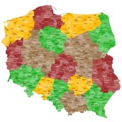 fototapeta mapa Polska w szczegółach